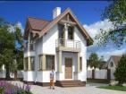 Одноэтажный жилой дом с мансардой,  террасой, эркером и балконами